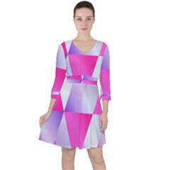 Gradient Geometric Shiny Light Ruffle Dress