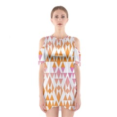 Geometric Abstract Orange Purple Shoulder Cutout One Piece