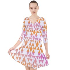 Geometric Abstract Orange Purple Quarter Sleeve Front Wrap Dress	 by BangZart