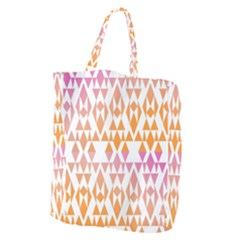 Geometric Abstract Orange Purple Giant Grocery Zipper Tote