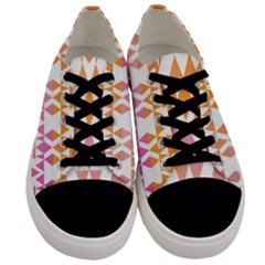 Geometric Abstract Orange Purple Men s Low Top Canvas Sneakers