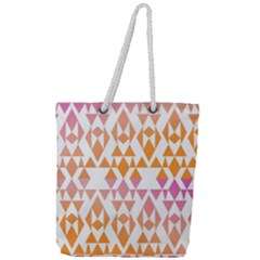 Geometric Abstract Orange Purple Full Print Rope Handle Tote (large) by BangZart