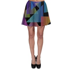 Triangle Gradient Abstract Geometry Skater Skirt by BangZart