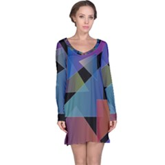 Triangle Gradient Abstract Geometry Long Sleeve Nightdress by BangZart