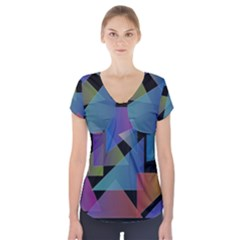 Triangle Gradient Abstract Geometry Short Sleeve Front Detail Top by BangZart