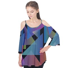 Triangle Gradient Abstract Geometry Flutter Tees