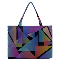Triangle Gradient Abstract Geometry Zipper Medium Tote Bag by BangZart