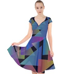Triangle Gradient Abstract Geometry Cap Sleeve Front Wrap Midi Dress