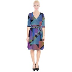Triangle Gradient Abstract Geometry Wrap Up Cocktail Dress