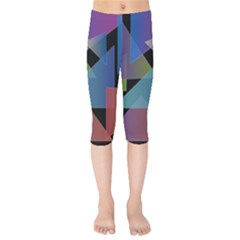 Triangle Gradient Abstract Geometry Kids  Capri Leggings  by BangZart