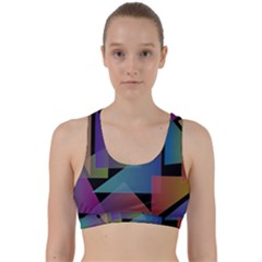 Triangle Gradient Abstract Geometry Back Weave Sports Bra