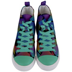Triangle Gradient Abstract Geometry Women s Mid Top Canvas Sneakers
