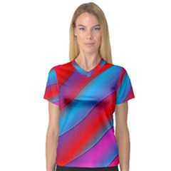 Diagonal Gradient Vivid Color 3d V Neck Sport Mesh Tee by BangZart