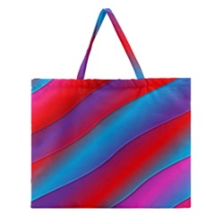 Diagonal Gradient Vivid Color 3d Zipper Large Tote Bag by BangZart