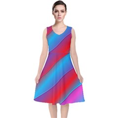 Diagonal Gradient Vivid Color 3d V Neck Midi Sleeveless Dress