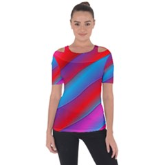 Diagonal Gradient Vivid Color 3d Short Sleeve Top