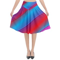Diagonal Gradient Vivid Color 3d Flared Midi Skirt by BangZart