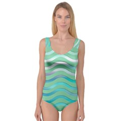 Abstract Digital Waves Background Princess Tank Leotard
