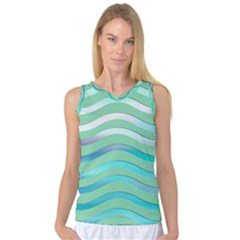 Abstract Digital Waves Background Women s Basketball Tank Top