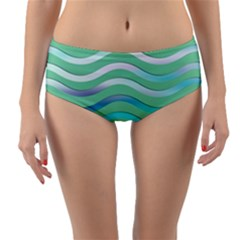 Abstract Digital Waves Background Reversible Mid Waist Bikini Bottoms