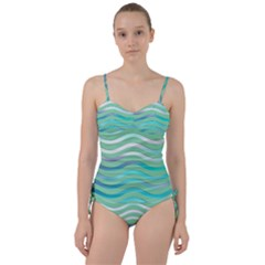 Abstract Digital Waves Background Sweetheart Tankini Set