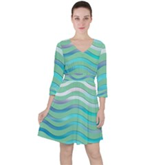 Abstract Digital Waves Background Ruffle Dress