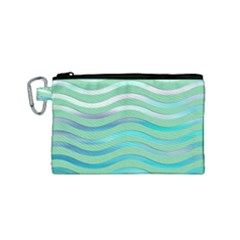 Abstract Digital Waves Background Canvas Cosmetic Bag (small)