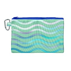 Abstract Digital Waves Background Canvas Cosmetic Bag (large)