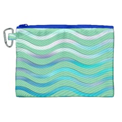 Abstract Digital Waves Background Canvas Cosmetic Bag (xl)
