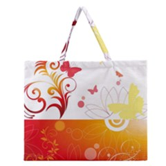 Spring Butterfly Flower Plant Zipper Large Tote Bag