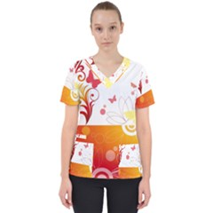 Spring Butterfly Flower Plant Scrub Top