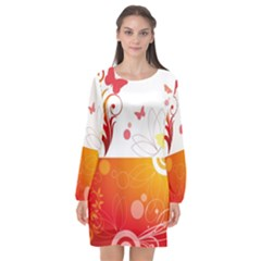 Spring Butterfly Flower Plant Long Sleeve Chiffon Shift Dress