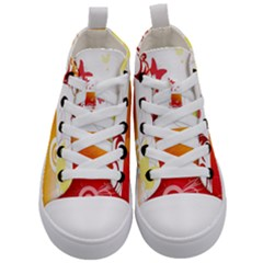 Spring Butterfly Flower Plant Kid s Mid-top Canvas Sneakers