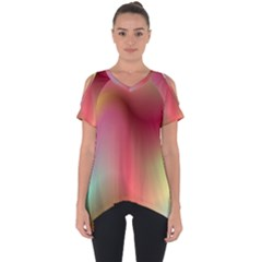 Colorful Colors Wave Gradient Cut Out Side Drop Tee