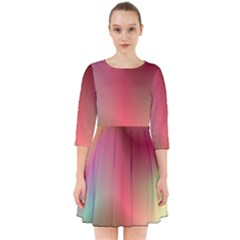 Colorful Colors Wave Gradient Smock Dress
