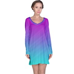 Background Pink Blue Gradient Long Sleeve Nightdress by BangZart