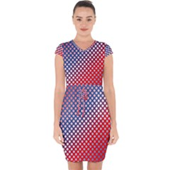 Dots Red White Blue Gradient Capsleeve Drawstring Dress