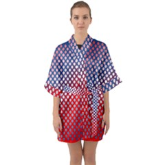 Dots Red White Blue Gradient Quarter Sleeve Kimono Robe