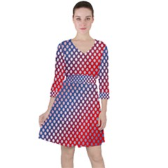 Dots Red White Blue Gradient Ruffle Dress