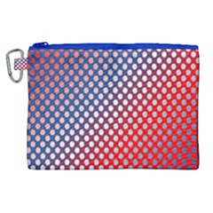Dots Red White Blue Gradient Canvas Cosmetic Bag (xl)