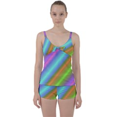 Background Course Abstract Pattern Tie Front Two Piece Tankini