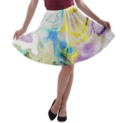 Watercolour Watercolor Paint Ink A Line Skater Skirt