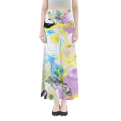 Watercolour Watercolor Paint Ink Full Length Maxi Skirt