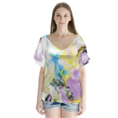 Watercolour Watercolor Paint Ink V Neck Flutter Sleeve Top