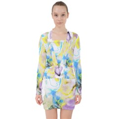 Watercolour Watercolor Paint Ink V Neck Bodycon Long Sleeve Dress