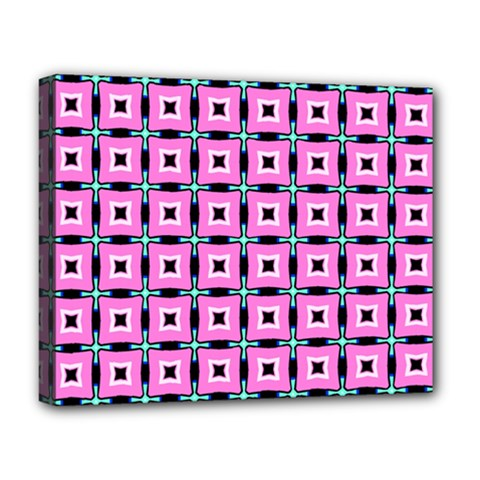 Pattern Pink Squares Square Texture Deluxe Canvas 20  X 16
