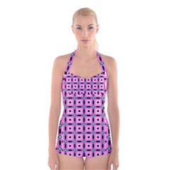 Pattern Pink Squares Square Texture Boyleg Halter Swimsuit