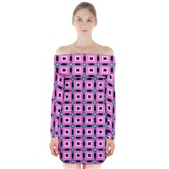 Pattern Pink Squares Square Texture Long Sleeve Off Shoulder Dress by BangZart