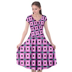 Pattern Pink Squares Square Texture Cap Sleeve Wrap Front Dress