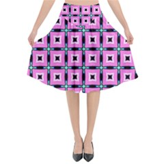 Pattern Pink Squares Square Texture Flared Midi Skirt